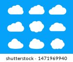 set of white cloud icons for...