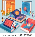 cute tiny people reading... | Shutterstock .eps vector #1471973846