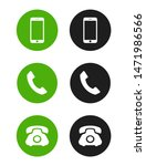 telephone icons set on white... | Shutterstock .eps vector #1471986566