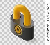 vector isometric lock icon in...
