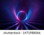 3d render, pink blue neon abstract background with glowing ring shape, ultraviolet light, laser show performance stage with reflections, round blank frame