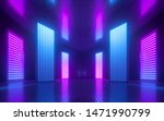 Stock photo  d render blue pink violet neon abstract background ultraviolet light night club empty room 1471990799
