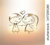 hand drawn wedding couple on... | Shutterstock .eps vector #147200180