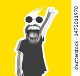 Small photo of Stylish trendy collage of modern art. Screaming crazy mouth instead of head, giving a sign of rock and roll, a gesture of devil horns. Black and white tones on a yellow isolated background.