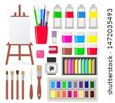 Painting tools elements in flat style, set. Art supplies: easel with canvas, paint tubes, brushes, pencil, gouache, watercolor, oil paints crayons pastel Vector illustration