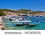 european city scape. bay  boat  ... | Shutterstock . vector #147203570