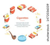 Cigarettes Accessories Smokers Signs 3d Banner Card Circle Isometric View Include of Cigar and Pipe. Vector illustration of Icons