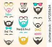 set of mustache and beards | Shutterstock .eps vector #147205634