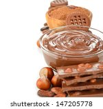 chocolate paste in a glass bowl ... | Shutterstock . vector #147205778