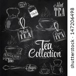 Stock vector set of tea collection with a tea cup and tea bags in vintage style stylized drawing with chalk on 147206498