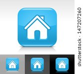 house icon set. blue glossy web ...