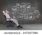 businessman resting on a chair... | Shutterstock . vector #147207386