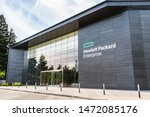 Small photo of August 5, 2019 Palo Alto / CA / USA - Hewlett Packard Enterprise (HPE) corporate headquarters located in Silicon Valley; HPE is an American multinational enterprise information technology company