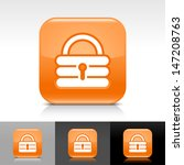 padlock icon set. orange glossy ...
