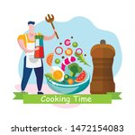 cooking time banner. man... | Shutterstock .eps vector #1472154083