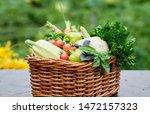 basket full of harvest organic... | Shutterstock . vector #1472157323