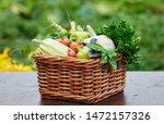 basket full of harvest organic... | Shutterstock . vector #1472157326
