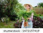 cute girl in wearing hat... | Shutterstock . vector #1472157419