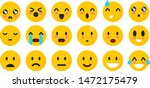 Stock vector set of yellow emoticons isolated smile face emoji mood on white background vector illustration 1472175479