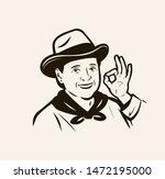 portrait woman farmer.... | Shutterstock .eps vector #1472195000