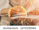 man's hands working with notes... | Shutterstock . vector #1472230466