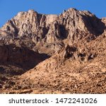 Egypt. Mount Sinai in the morning at sunrise. (Mount Horeb, Gabal Musa, Moses Mount). Pilgrimage place and famous touristic destination.