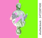 Small photo of Contemporary art collage. Sculpture renaissance playing cards