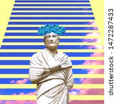 Small photo of Contemporary art collage. Sculpture renaissance Man and sky background