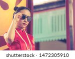 chinese woman is cheongsam with ... | Shutterstock . vector #1472305910