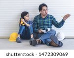 builder father is teaching his... | Shutterstock . vector #1472309069