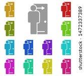 door  employee multi color icon....