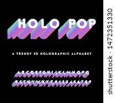 holographic alphabet  ... | Shutterstock .eps vector #1472351330