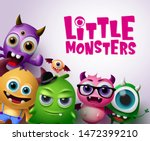 Stock vector little monsters vector characters background little monsters text with scary and funny monster 1472399210