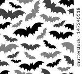 black & grey bat seamless pattern on white - stock vector