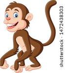 Cute Baby Monkey Cartoon On...