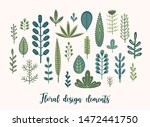 vector floral set with cute... | Shutterstock .eps vector #1472441750