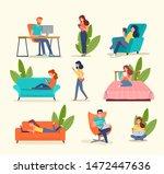people look at gadgets. big set....   Shutterstock .eps vector #1472447636