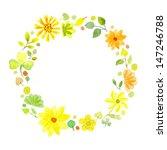 watercolor yellow flowers frame ...   Shutterstock . vector #147246788
