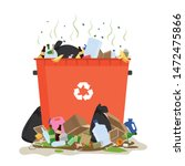 trash can with piles of garbage.... | Shutterstock .eps vector #1472475866