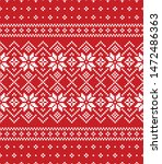 Christmas and New Year seamless pattern. Red and white pixel pattern in red and white with stylized snowflakes for winter hat, sweater, jumper, paper, or other designs.