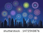 night city fireworks. holiday... | Shutterstock .eps vector #1472543876