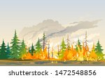 burning forest spruces in fire... | Shutterstock .eps vector #1472548856