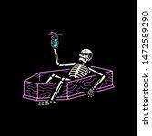 resting skeleton with cocktail... | Shutterstock .eps vector #1472589290
