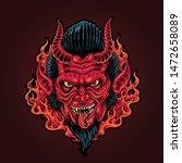 the charming demon halloween... | Shutterstock .eps vector #1472658089