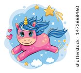 a cute and funny unicorn is... | Shutterstock .eps vector #1472668460