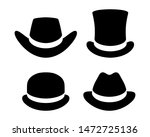 hats graphic icons set. cowboy... | Shutterstock .eps vector #1472725136