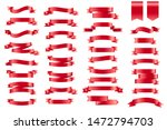 red banner ribbons. set of 34... | Shutterstock . vector #1472794703