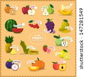 vector icon fruits and slice... | Shutterstock .eps vector #147281549