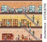 people in big supermarket... | Shutterstock .eps vector #1472818700