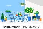 Blue Garden Furniture On The...